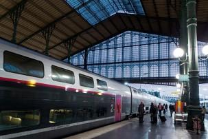 25 août 2014. Premier TGV duplex au départ de la gare du Nord .